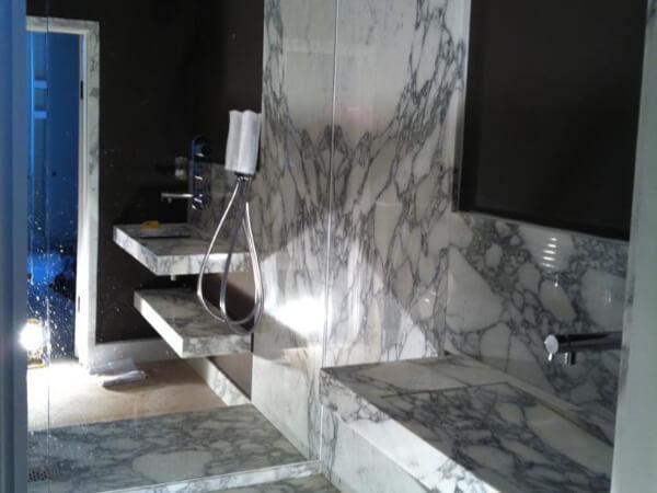 marble arabescato bathroom