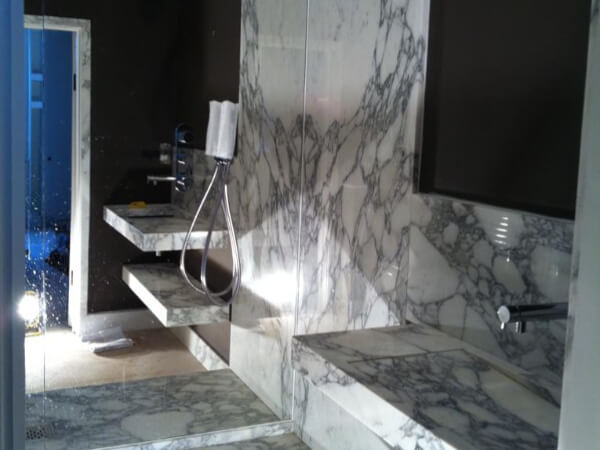 marble arabescato bathroom