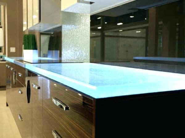 glass kitchen worktop